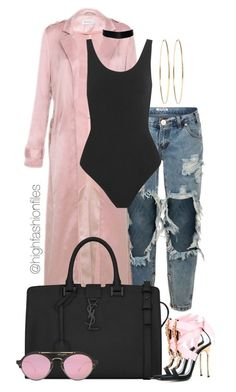 """Untitled #2750"" by highfashionfiles ❤ liked on Polyvore featuring OneTeaspoon, Yummie by Heather Thomson, Yves Saint Laurent, Dsquared2, Jennifer Meyer Jewelry and Illesteva"