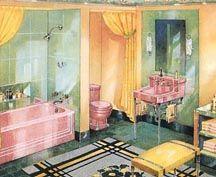 pink yellow green bath