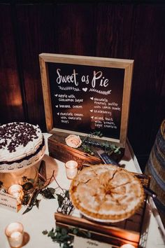 Elegant Wine Hued Wedding In Cle Elum Washington Cle Elum Real Wedding - Hochzeit Pie Bar Wedding, Wedding Signs, Wedding Reception, Rustic Wedding, Our Wedding, Wedding Food Tables, Wedding Ideas, Fall Wedding Desserts, Thanksgiving Wedding