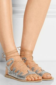 Ancient Greek SandalsAntigone glittered leather sandals