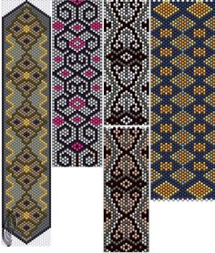 I like the second from the left Peyote Stitch Patterns, Seed Bead Patterns, Beaded Jewelry Patterns, Beading Patterns, Peyote Beading, Beadwork, Tear, Brick Stitch, Bead Weaving