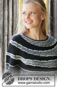 Fading circles / DROPS - free knitting patterns by DROPS design , Fading circles / DROPS - free knitting patterns by DROPS design Baby Knitting Patterns, Knitting Designs, Free Knitting, Simple Knitting, Crochet Patterns, Drops Design, How To Start Knitting, Knitting For Beginners, Magazine Drops