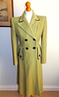 da78de0d4e Vintage 1940 s Original CC41 Utility Pale Lime Green   Black Flared Coat UK  8 10