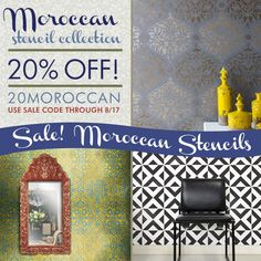 SALE: SAVE 20% on Moroccan stencil patterns from Royal Design Studio until 8/15/14 Sunday!!!