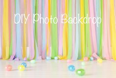 DIY Photo Backdrop but in different shades of purple and white
