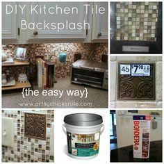Kitchen Tile Backsplash Collage- artsychicksrule.com #backsplash #tile #diy