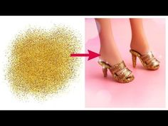 DIY Barbie shoes (but they could be made for other scales). Thin cardboard, ribbon, glue and paint. The video includes tutorials on making a felt hat and a purse for Barbie. How To Make Slippers, Slippers For Girls, How To Make Shoes, Diy Barbie Clothes, Barbie Shoes, Doll Shoes, Doll Clothes, Barbie E Ken, Barbie Dream