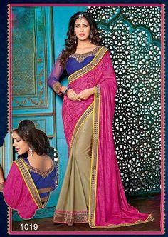 Designer Indian Pink & Chiku Beauty Ethnic Wedding Fancy Saree