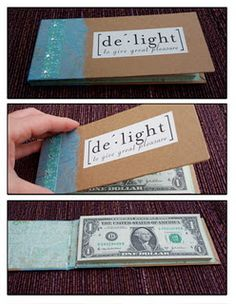 money book - glue bills on side so they tear off like notes from a notepad :)