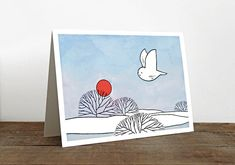 Winter Sun Owl Card by 100owls on Etsy  #Christmas #Holiday