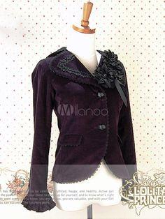 Steampunk - Gothic Purple Flowers Lace Cotton Lolita Coat