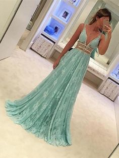 Mint Prom Dresses,V-neck Prom Dresses,Long Prom Dress,Elegant Prom Mint Prom Dresses, Straps Prom Dresses, V Neck Prom Dresses, Prom Dresses 2017, Tulle Prom Dress, Prom Party Dresses, Dress Lace, Prom Gowns, Dresses Dresses