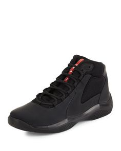 America\'s+Cup+High-Top+Sneaker,+Black+by+Prada+at+Neiman+Marcus.