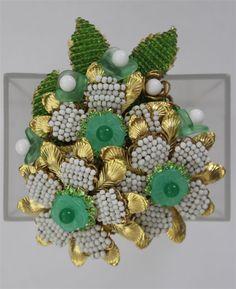Vintage STANLEY HAGLER Ian St Gielar Green White Beaded 3 FLOWERS Leaf Brooch | eBay