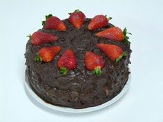 Devil's food cake and strawberries