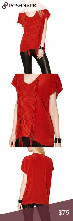 """Sachin + Babi Farrah Top 100% Silk fringe shirt with scoop neck.  Red/orange color.  Last seen on Gilt, now sold out w everywhere. Size large.  Shorter in front and longer in back.   Front body length is about 28"""" @ longest point and 18""""l at center. Sachin + Babi Tops Blouses"""