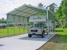 Our metal RV shelters are manufactured by the largest manufacturer of metal carports in the US. With more than 14 years of experience, they produce the best quality materials used to build all of the motorhome carports. Rv Shelter, Shelters, Metal Rv Carports, Metal Buildings For Sale, Portable Carport, Pergola Carport, Carport Ideas, Cheap Pergola, Cabanas