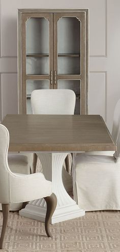 Farmhouse Pedestal Dining Table: Classy and elegant describe this fantastic rectangular dining option. The sculpted bases are in an opaque, textured white plaster finish, gently supporting a soft, taupe grey wood-tone finished top. Dining Table, Farmhouse Furniture, Furniture, Rustic Bedroom Furniture, Rustic Furniture, Pedestal Dining Table, Farmhouse Dining Table, Cabin Furniture, Furniture Decor