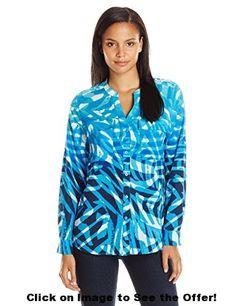 Calvin Klein Women's Print Crew Neck Roll Sleeve Top