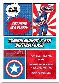 Captain America Birthday Party Invitations | Birthday Party ...