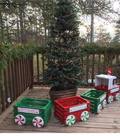 outdoor Christmas train crates and wooden circles