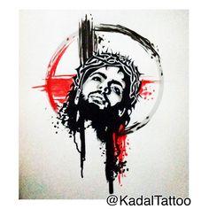 "Jesus in ""Trash Polka"" design. Enjoy #KadalTattoo"