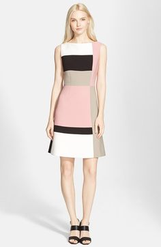 Free shipping and returns on kate spade new york colorblock a-line dress at Nordstrom.com. Color blocking in black and white and shades of pastel cuts a dash on an elegant A-line dress finished with a gleaming goldtone zipper.