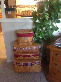 My craft keeper basket, two medium gathering baskets and weekend basket.  Love staking my baskets!