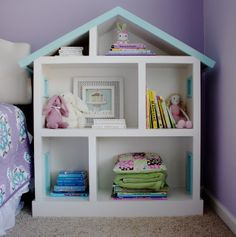 The Yellow Cape Cod: Doll House Bookcase for a kid's room - so sweet! -Skye
