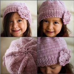 Girls Flower Hat: Free knitting pattern