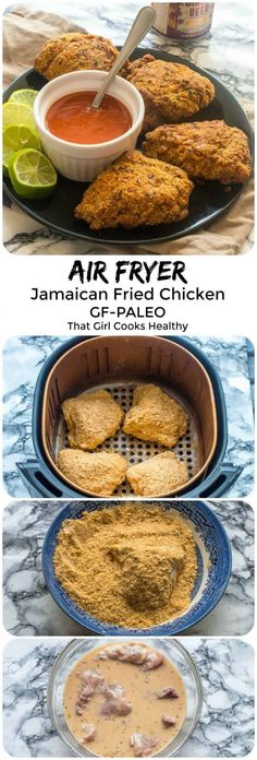 Delicious succulent Jamaican fried chicken made in an air fryer less oil and a much healthier cooking method #chickenrecipes #airfryerchicken #paleodinner #glutenfreerecipes #cookingmethod #cooking #method #different