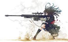 nice Anime Girl Sniper Rifle Wallpaper