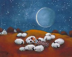 Sleeping Out Under The Stars a Sheep Autumn Moon Stars Print by Deborah Gregg