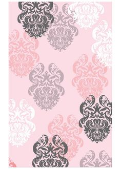 Brocade Pink Black White Cotton Flannel Hook Rug RM12363