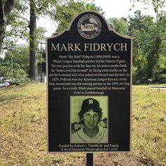 Mark Fidrych Memorial In Northborough, Mass. Baseball Park, Baseball Photos, Baseball Players, Baseball Stuff, Detroit Sports, Detroit Tigers Baseball, Detroit Michigan, Detriot Tigers, Tiger Stadium