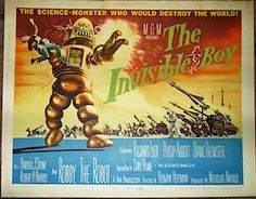 """The Invisible Boy"", 1957  Original vintage Title Card (11x14)  Starring Robby the Robot"