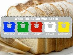I always look at the tie and then the expiration date to get the freshest bread. Dig loaves out from the back also.  Go by the first letter of the tag color. Monday is B (blue) tuesday G (green) Wed. R(red) the later in the week-the deeper in the alphabet you go.