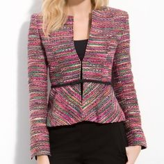 Nanette Lepore jukebox tweed jacket This is the most amazing tweed jacket by Nanette Lepore. I would never part with it, except that this is two sizes too big for me. I was so desperate to own this jacket that I bought it in the wrong size (the other sizes were sold out). Take it off my hands before I decide to get it tailored. Flattering fit highlights the waist. Size 10. NWT. Nanette Lepore Jackets & Coats Blazers