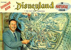 Walt Disney on the cover of a Disneyland Souvenir Book, 1955.