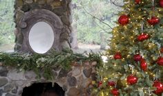 Rock fireplace red ornaments on Christmas tree decor idea diy house home design holiday outdoor