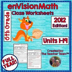 Cloze Worksheets Topics 1-19 : This package contains sixth grade CLOZE ...