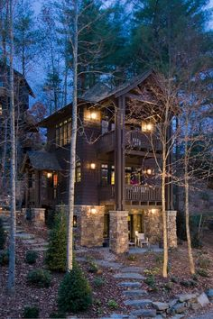 Traditional Exterior Cabin Design, Pictures, Remodel, Decor and Ideas - page 22 Traditional Exterior, Traditional House, Cabin Homes, Log Homes, Cabana, Small Cabin Designs, Cabins And Cottages, Log Cabins, Forest House