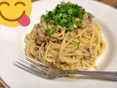 うめぇ!?梅ツナパスタの画像 Japanese Food, Spaghetti, Pasta, Cooking, Ethnic Recipes, Kitchen, Kitchens, Japanese Dishes, Cuisine