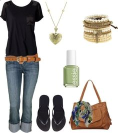 #summer #outfits / Black Tee + Denim