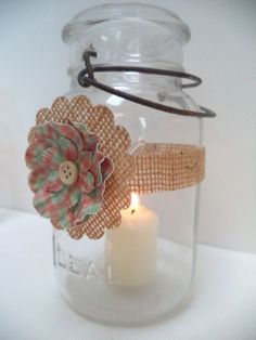 8 Rustic Burlap Pink Blue Mason Jar Candle Baby Shower Wedding Party Wraps AU8 #BurlapBrides