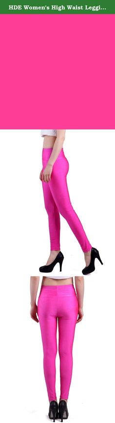 HDE Women's High Waist Leggings Stretch Tight Slimming Pants (Hot Pink, Large). Rock out in the leather-like texture and luster of these curve-hugging liquid leggings. These form-flattering, high-waisted leggings offer a slimming fit that is both sleek and sexy, perfect to pair with any outfit. The slick, skin-tight and seamless design is equally edgy and enticing. Whether you're looking to keep warm in the winter or simply looking to accentuate your legs alongside your favorite dress, a...