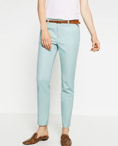 Image 2 of CHINO STYLE TROUSERS WITH BELT from Zara