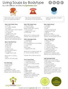 Living Soups by Body Type http://yogahealer.com/cheatsheets/#.VBmVAUwl4e0