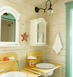 5-10 ASAP  DO THIS VGREEN WITH PRETTY YELLOW & STARFISH COLOR!!!!  beach bathroom with vintage washstands