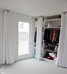 Lemari dinding, how to make a closet/wardrobe on a wall Closet Bedroom, Bedroom Storage, Bedroom Decor, Closet Wall, Closet Space, Master Bedroom, Curtains For Closet Doors, Curtain Closet, Ceiling Curtains